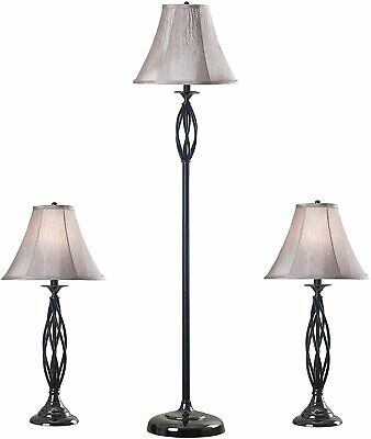 Kenroy Home 30350 Sperry Floor Table lamp Pack, 1, Black and Silver