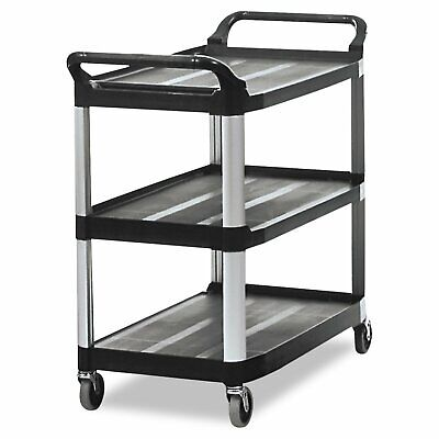 Rubbermaid Commercial HD 3-Shelf Rolling Service/Utility/Push Cart, 300 lb