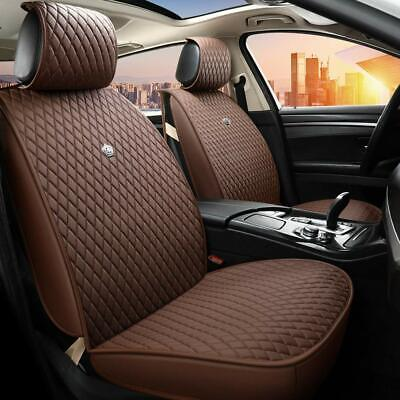 Luxury Brown Leather Car Seat Cover Front Rear Seat Cushions Airbag Compatible
