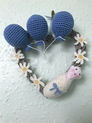 Wicker Heart Wreath Hanging Hand Decorated New Baby / Birthday Ornament