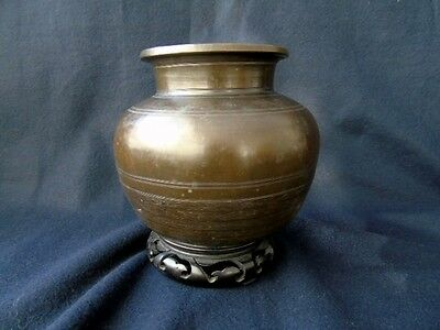 Antique Chinese Bronze Censor On Stand