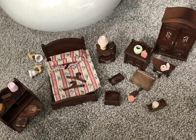 Sylvanian Families Dark brown Master bedroom, extra furniture and accessories❤️