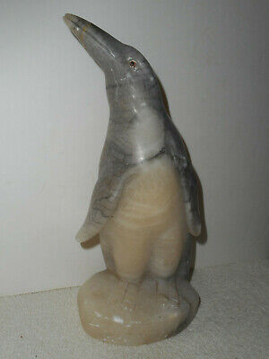 """Vintage Marble Penguin Statue Doorstop Hand Carved Made in Italy 9"""" Large"""