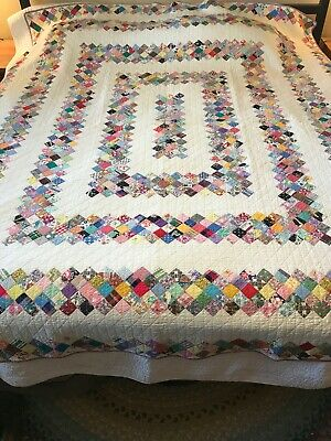 Vintage 1930s Multi Color & White Feed Sack Irish Chain Quilt 92 x 78