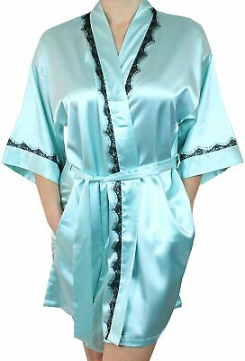 Women's Satin Kimono Bridesmaid Short Silky Bathrobe Robe with Lace Trim