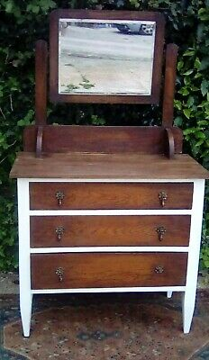 Vintage Oak Chest Of Drawers/Dressing Table With Mirror