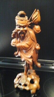 Oriental Antique  Wooden Figure Carving Asian Man Chinese Japanese Vintage