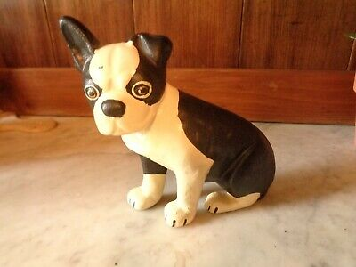Collectible Cast Iron Sitting Boston Terrier French Bulldog Puppy Door Stop