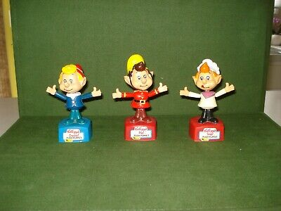 Set Of 3 Push Puppets - Snap, Crackle And Pop, Rice Krispies, Kellogg's, 1984