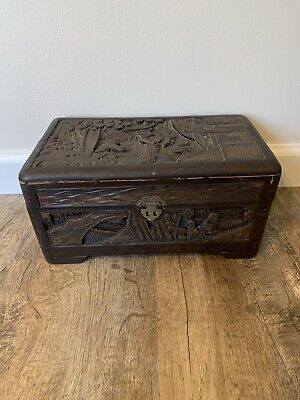 Antique Vintage Handmade Hand Carved Wooden Box