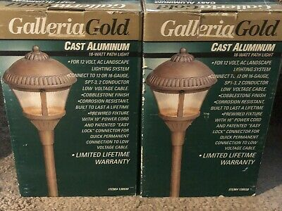 """Vintage Pair New Old Stock MCM Galleria Gold Cast Aluminum Path Lights 18"""" Each"""