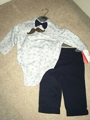 BOYS CHINO PANTS BRACES BOW TIE SHIRT BODYSUIT OUTFIT SPANISH STYLE 3-6-12-18