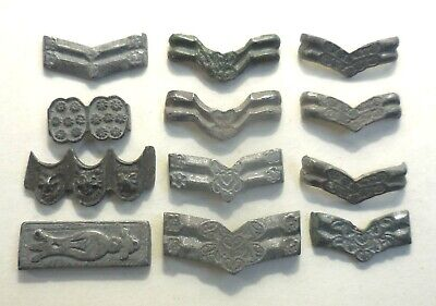 Lot of 12 Ancient Military Belt Applique Probably Pewter, Purchased from Germany
