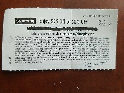 Shutterfly $25 off or 50% off Coupon Code - Expires 6/30/20