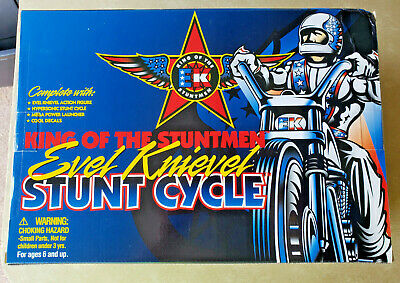 New Vintage Evel Knievel Stunt Cycle King Of The Stuntmen Figure Motorcycle 1998
