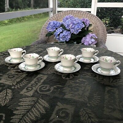 Syracuse China Old Ivory Coralbel 6 Demitasse Cups & Saucers Excellent