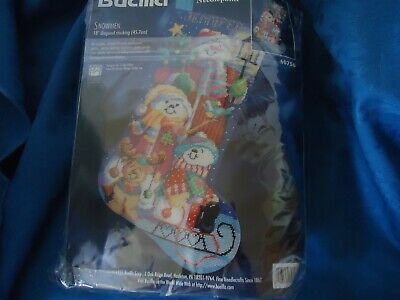 "Bucilla Christmas Needlepoint Stocking Kit SANTA /& SNOWMAN 60713 Gillum 18/"" NIP"