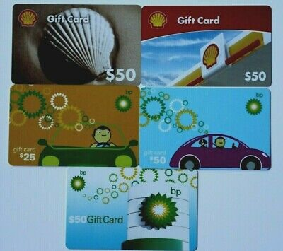 5 Different Gas Station Empty No Value Gift Cards Shell BP Lot Collectible