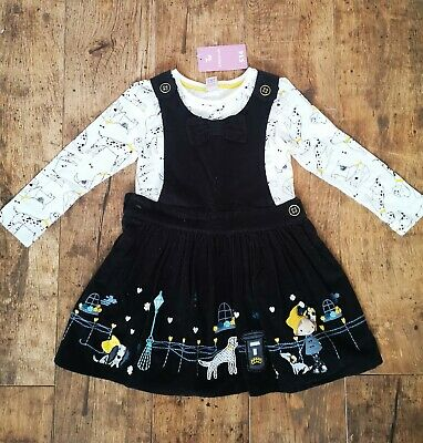 Girls Black Cord Pinafore Dress Dog Prt Long Sleeve Top Outfit Set Age 2-3 years