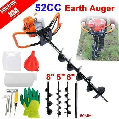 "52cc 2.5HP Auger Post Hole Digger Gas Powered +5"" 6"" 8""Earth Auger Drill Bits US"