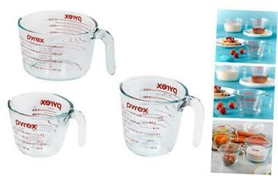 Pyrex Glass Measuring Cup Set (3-Piece, Microwave and Oven Safe) 3-Piece