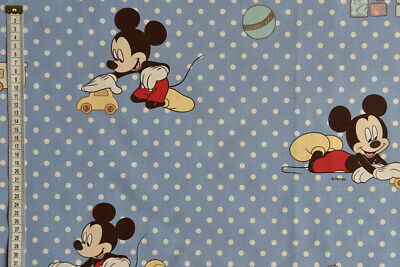 Mickey Mouse Playhouse 108cm Wide Blue Disney Soft Brushed Cotton Fabric