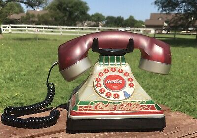 Coca-Cola Stained Glass Push Phone Vintage Antique Rare Ornament with light GUC