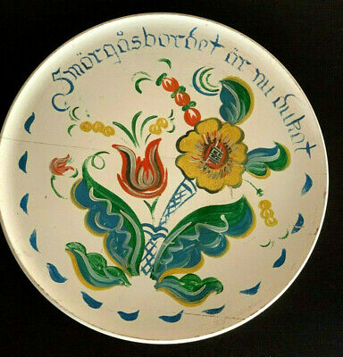 Hand Painted Berggren Wood Wedding Platter Signed Traditional Swedish Folk Art