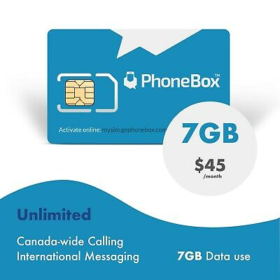 Phonebox Canadian prepaid SIM card | Unlimited talk, text, and 7GB of LTE Data.