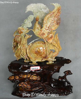 Unique Natural Jade Carved Cranes Bird Dragon tortoise Turtle Longlife Statue