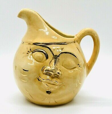 Vtg Ceramic Pottery Pitcher Creamer Man In The Moon Face Yellow & Gold Signed
