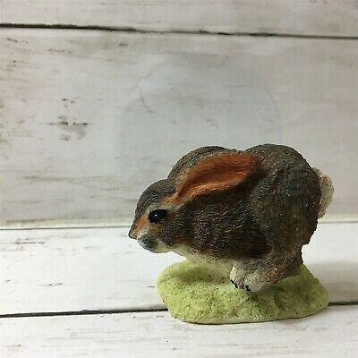 Brown Bunny Rabbit Figurine Easter Hopping Hand Painted