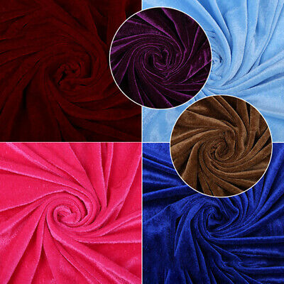"Premium Crushed Velvet Fabric Craft Dress Stretch Material 96"" Wide Per Metre"