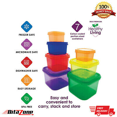 7pcs Portion Control Food Container BPA Free Healthy Eating Pots Storage Box Lid