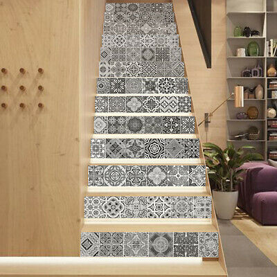 Black & White Stair Sticker Waterproof Renovation Staircase Decal DIY Decoration