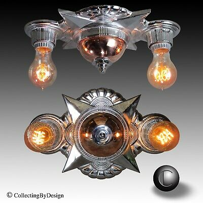 VTG 1930's High Style Art Deco Double Ceiling Light Fixture RESTORED