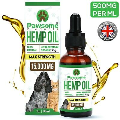 Hemp Oil for Pets 30ml by Pawsome Products *HIGH STRENGTH* 15,000mg