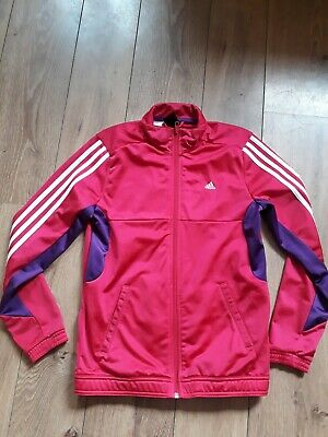Adidas Hot Pink Shiney Zip Up Tracksuit Top Jacket Age 13-14 Years - Vgc