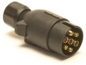 Trailer Parts - 7 pin 12n Plastic Plug: Black - Towing 7 pin Electrical Plug