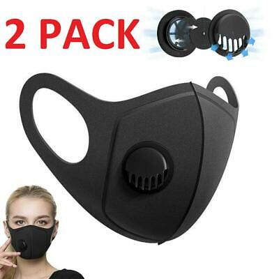 2x Breathable Air Flow Surgical Mask Washable Face Mouth Protection With Filter