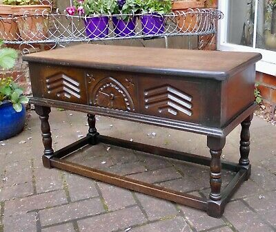 Tudor Oak Carved Stool~Seat~Bench~Coffee Table~Tv Stand~Lift Up Lid With Storage