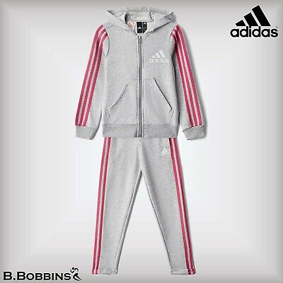 🔥 Adidas Performance Girls Grey COT Hooded Tracksuit Age 4-5 11-12-13-14 Years