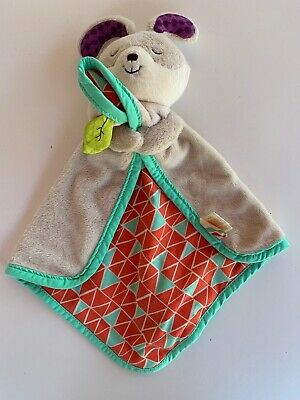 B. Toys Battat Snugglies Bunny Rabbit Teal Coral  Security Blanket Baby Lovey