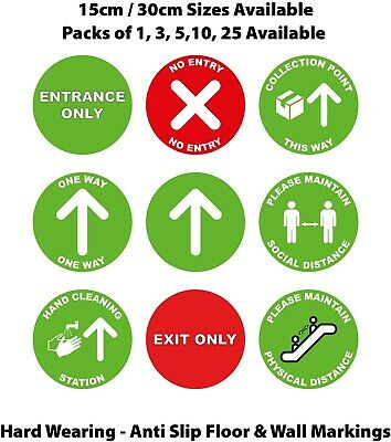 Shop Floor Stickers - Social Distancing Floor Decals - 15cm/30cm - Non Slip