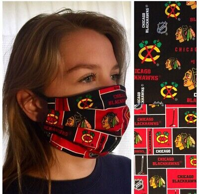 Lot Of 2 Adult CHICAGO BLACKHAWKS - 100% Cotton HANDMADE Face masks