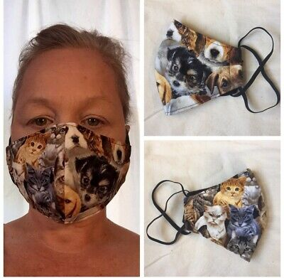 CATS / Dogs -Adult FACE MASK - 100% Cotton -  YORKIE - HANDMADE In USA