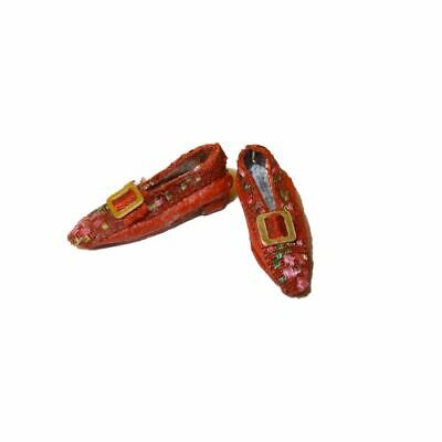 Dolls Cobbler Artisan Shoes Red Brocade Flats Slippers 1:12 Dollhouse Miniature