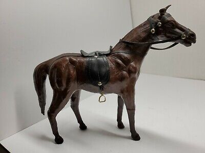 "Vintage Leather Wrapped Brown Horse Figure Sculpture Statue 12"" tall with Saddle"