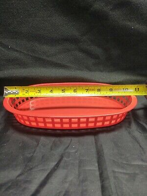 "Lot of 17 Tablecraft Chicago Plastic Baskets 1076 Red 10 5/8"" x 7"" x 1 1/2"""