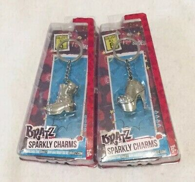 Bratz Sparkly Charms Rhinestone Shoes Silver Key Chain Set Of 2 Different Styles